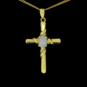 18ct Yellow Gold Solid Opal Cross
