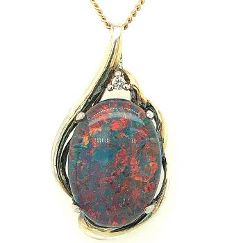Gold Plated Triplet Opal Pendant (13x18)