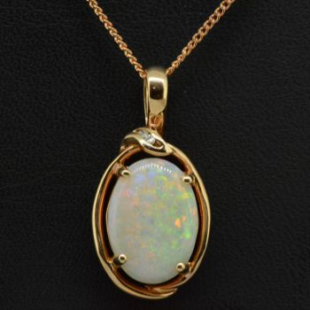 14ct rose gold solid opal pendant (14mmx10mm)