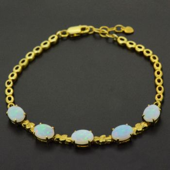 Gold Plated Solid Crystal Opal Bracelet