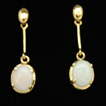 Gold Plated Drop Sterling Silver Solid Opal Earrings