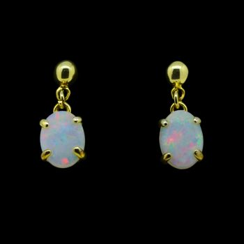 Gold Plated Solid Opal Oval Earrings