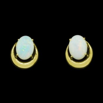 Gold plated solid opal horse shoe earrings