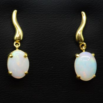 Gold Plated Drop Solid Crystal Opal Earrings