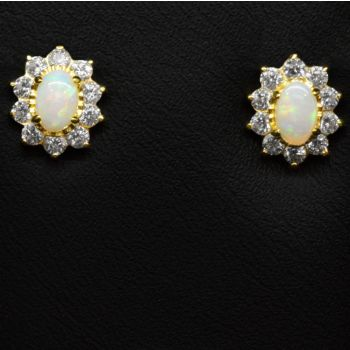Gold Plated Solid Opal Earrings Set With Crystals