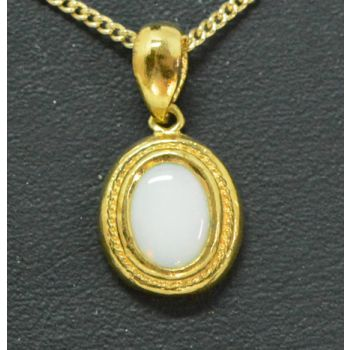 Yellow Gold Plated Sterling Silver Solid Opal Pendant