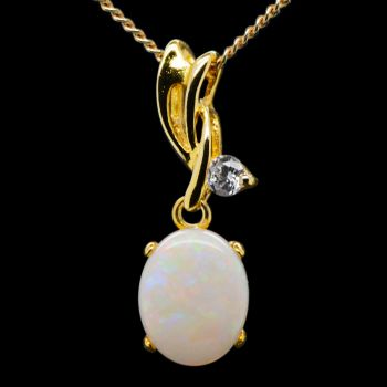 Gold Plated Sterling Silver Solid White Opal Pendant