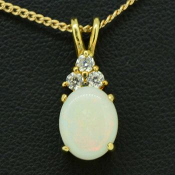 Gold Plated Sterling Silver Solid Opal Pendant Set With 3 Cut Crystals