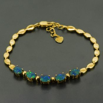 Gold Plated Triplet Opal Adjustable Bracelet