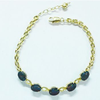 Gold Plated Sterling Silver Triplet Opal Bracelet, With 5 Triplet Opals
