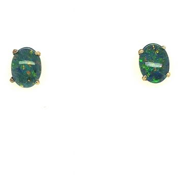 Gold Plated Sterling Silver Claw Set Triplet Opal Earrings (8x6)