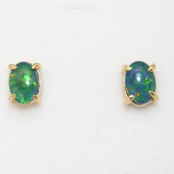 Oval Gold Plated Sterling Silver Triplet Opal Earrings