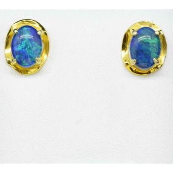Wave Design Gold Plated Sterling Silver Triplet Opal Earrings