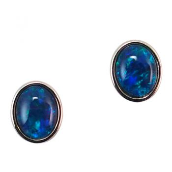 Gold Plated Sterling Silver Beazel Set Triplet Opal Earrings