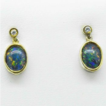 Gold plated triplet opal earrings with a cut crystal
