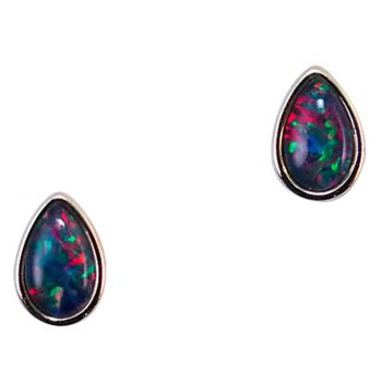 Gold plated tear drop triplet opal earrings