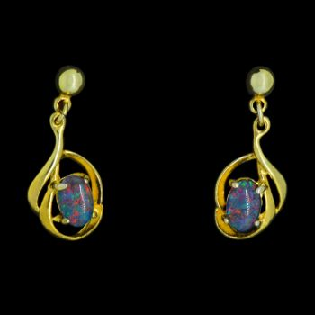 Gold plated triplet opal swirl earrings