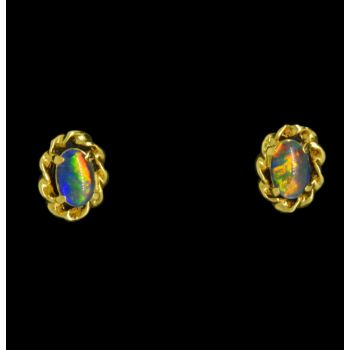 Gold Plated Triplet Opal Earrings