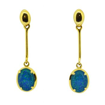 gold plated triplet opal drop earrings 8x6