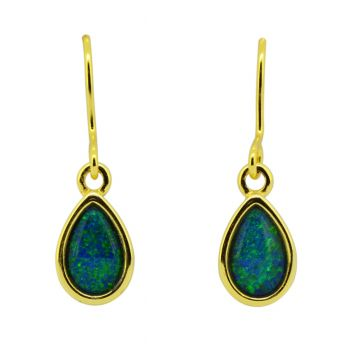 Gold plated tear drop shaped triplet opal earrings  (8mmx5mm)