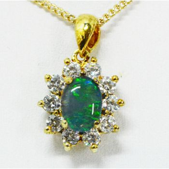 Gold Plated Sterling Silver Triplet Opal Pendant Surrounded By Cut Crystals