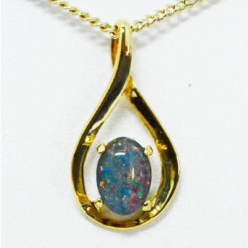 Gold Plated Sterling Silver Claw Set Triplet Opal Pendant
