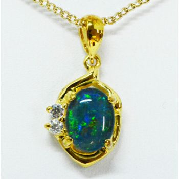 Gold Plated Sterling Silver Triplet Opal Pendant Set With Two Cut Crystals