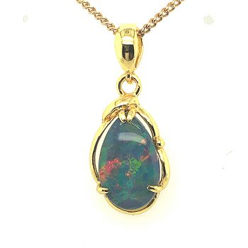 Gold plated sterling silver triplet opal pendant