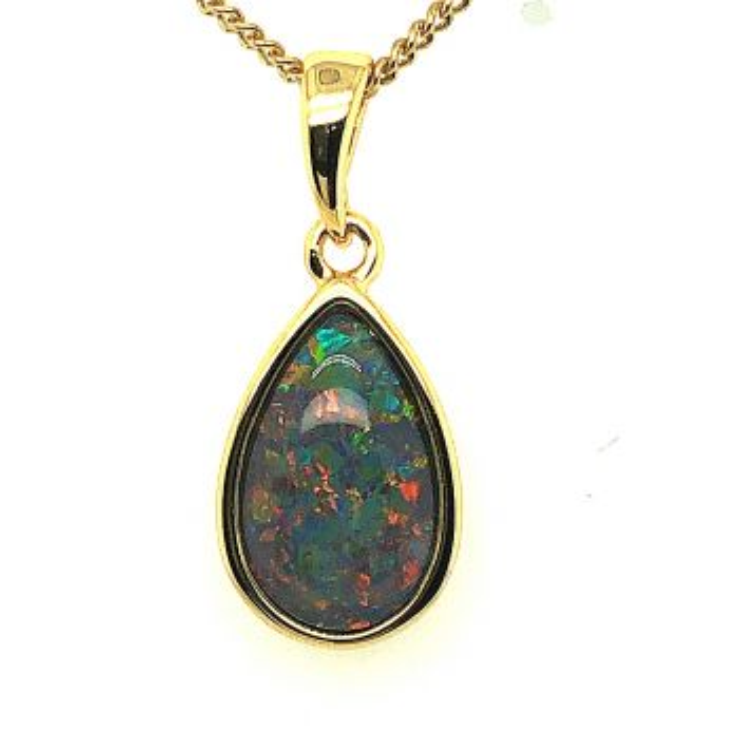 Gold plated triplet tear drop opal pendant