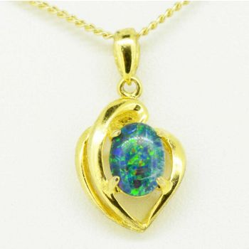 Gold plated triplet opal pendant 9mmx7mm