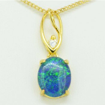 Gold plated triplet opal pendant 11mm x 9mm