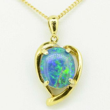 gold plated triplet opal pendant 12mmx10mm