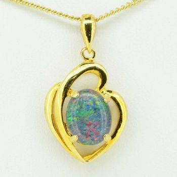 Gold plated sterling silver triplet opal pendant 10mmx8mm