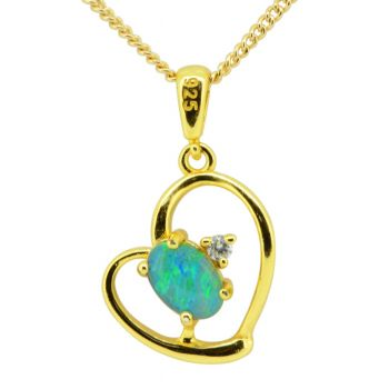 Gold Plated Sterling Silver Heart Shaped Triplet Opal Pendant