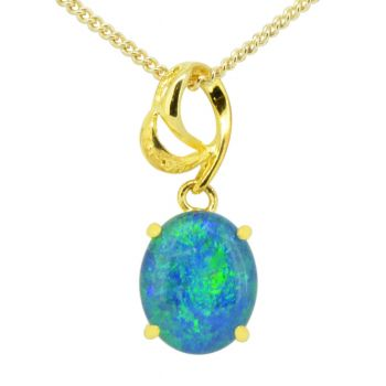 Gold plated triplet opal pendant 11mmx9mm