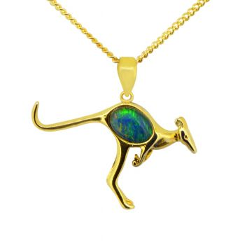 Gold Plated Sterling Silver Kangaroo Triplet Opal Pendant