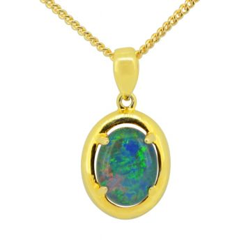 gold plated triplet opal pendant (9x7)