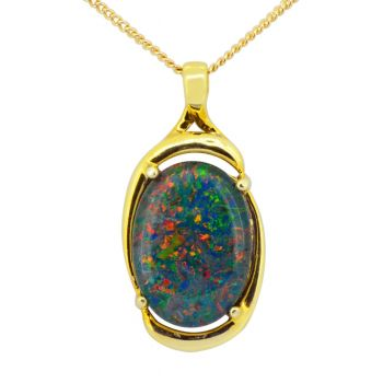 Gold plated sterling silver triplet  opal pendant (18x13)