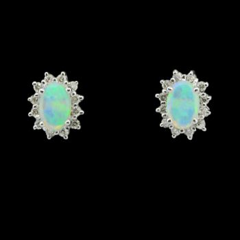 18ct White Gold Solid Opal Earrings surrounded by Brilliant Diamonds