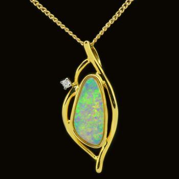 14ct Solid Crystal Opal Pendant and Diamond