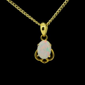 18ct Yellow Gold Solid White Opal Pendant