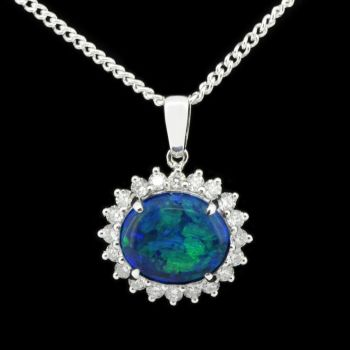 18ct white gold black opal pendant (9mmx8mm)