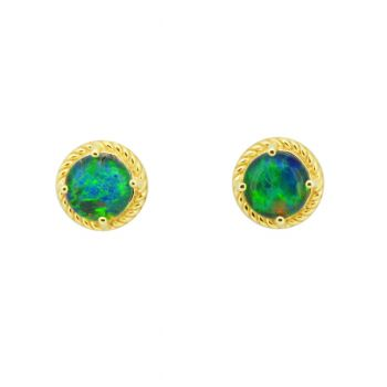 9ct Yellow Gold Triplet Opal Earrings