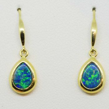 14ct Yellow Gold Drop Down Doublet Opal Earrings