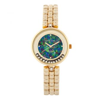 Ladies gold plated floating crystal opal face watch