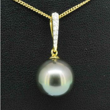 18ct yellow gold Tahitian pearl pendant