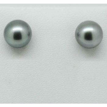 18ct yellow gold black Tahitian pearl stud earrings