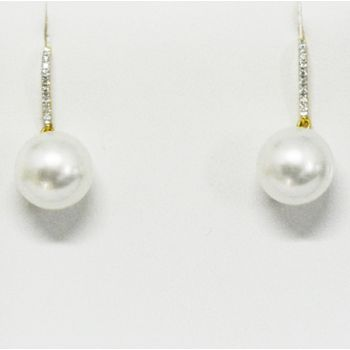 18ct White South Sea Pearl Earrings With Diamonds