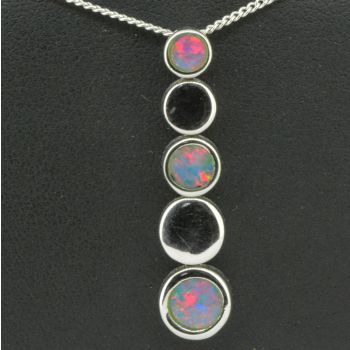 Sterling Silver Doublet Opal Circle Pendant