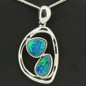 Sterling Silver Doublet Dual Opal Pendant (8x7,9x6)